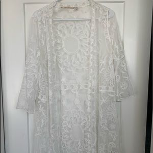 Soft Surroundings lace duster off white